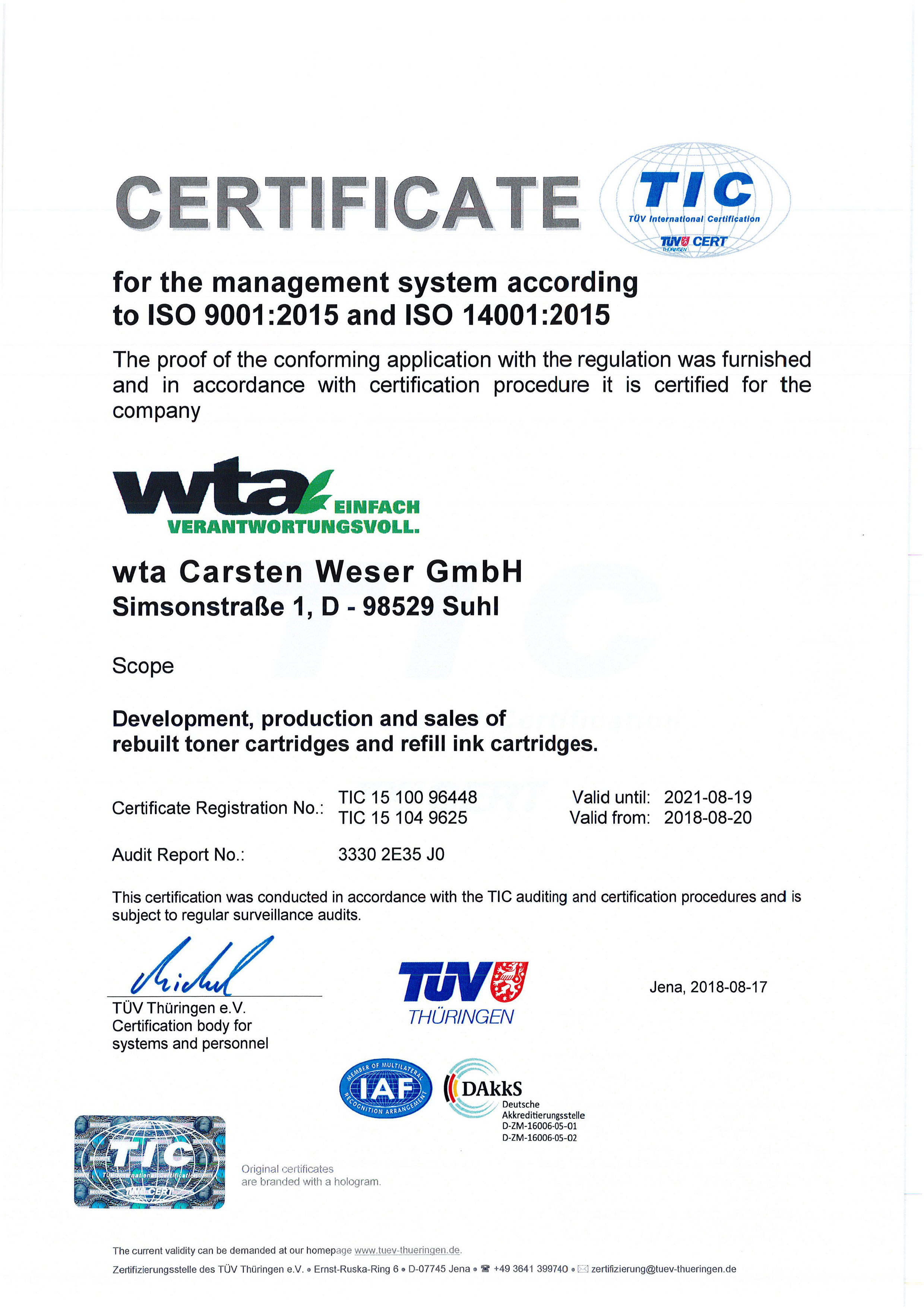 Certificate of the company wta Suhl for the management system according to ISO 9001:2008 and ISO 14001:2004