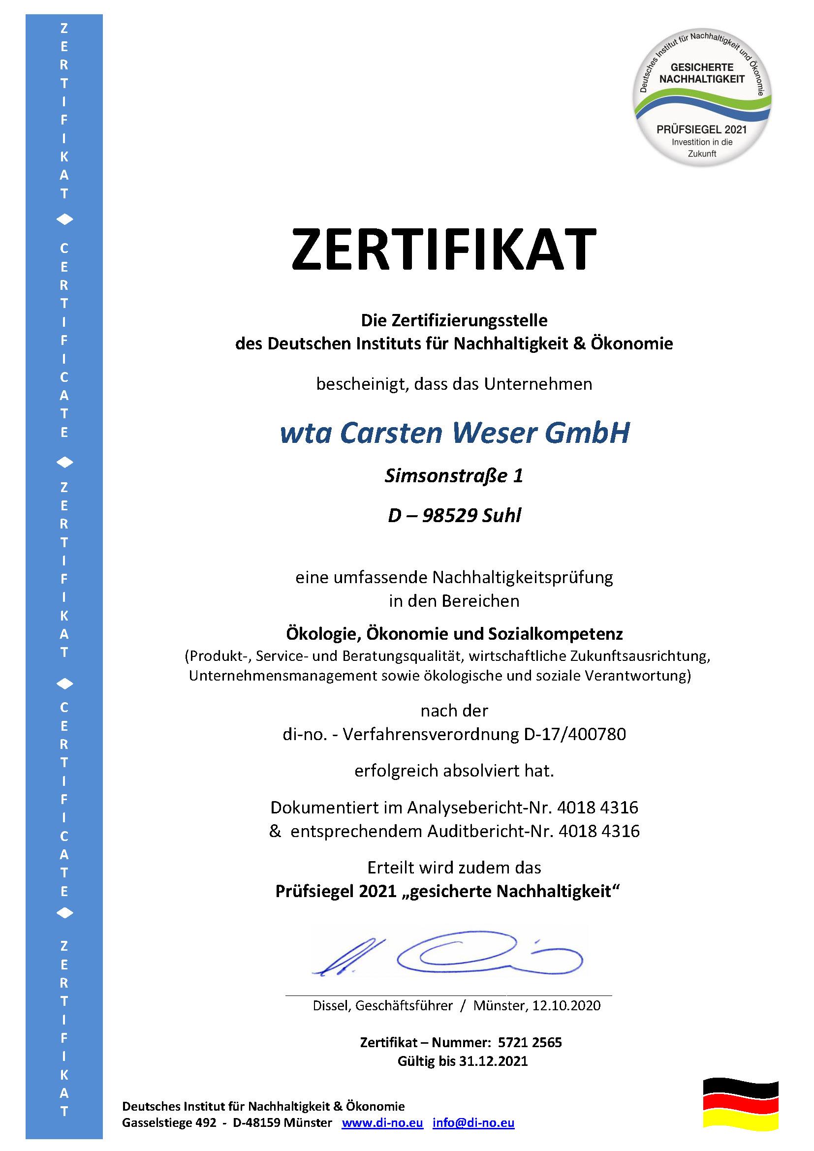 Logo Zertifikat der wta Suhl über eine Nachhaltigkeitsprüfung in den Bereichen Ökologie, Ökonomie und Sozialkompetenz