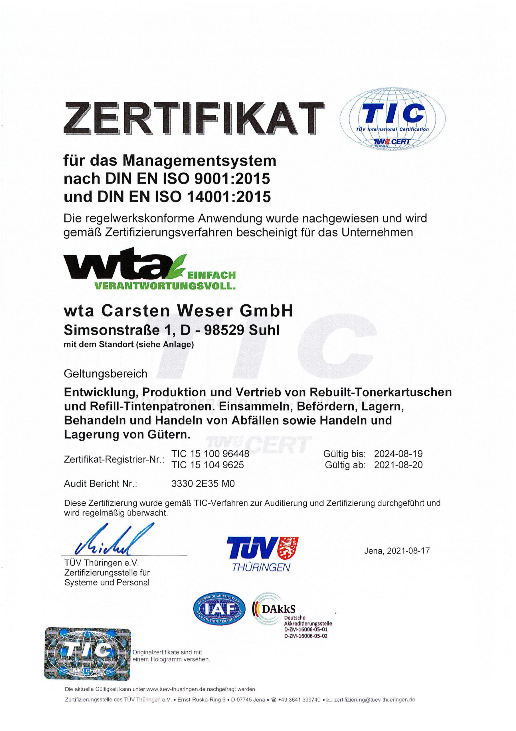 Zertifikat der wta Suhl für ein Managementsystem nach DIN EN ISO 9001:2008 und 14001:2009